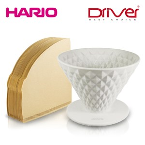 【Driver】鑽石窖作陶瓷濾杯2人份+HARIO 無漂白濾紙100張