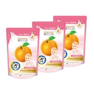 【 橘子工坊】家用清潔類奶瓶蔬果清潔劑補充包430ml*3