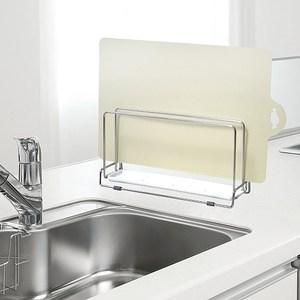 日本LEC不鏽鋼雙層砧板架+可彎曲薄砧板(淺黃色)1片