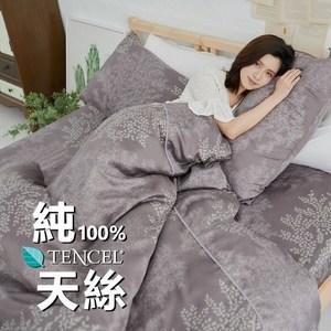 【BUHO】100%TENCEL純天絲單人床包+雙人舖棉兩用被床包組(森沐影畔)