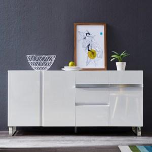 林氏木業現代簡約環保E1白亮光漆面多格儲物餐櫃(具防倒功能)DA1T