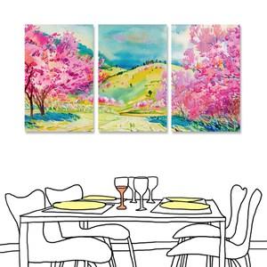 【24mama 掛畫】三聯式 油畫布 無框畫 40x60cm(櫻花樹下