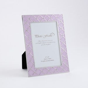 珍羽金屬相框 紫菱格 4X6
