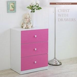 花樣鏡面三抽斗櫃 粉紅色