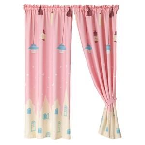 【三房兩廳】魔法電燈與移動城堡窗簾200cm*170cm(魔法粉色)