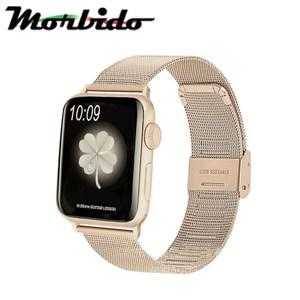 蒙彼多 Apple Watch 38mm不鏽鋼編織卡扣式錶帶 復古金