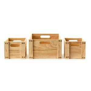 簡約木箱超值三入組
