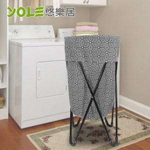 【YOLE悠樂居】鐵架摺疊雜物籃/洗衣籃-黑白線條