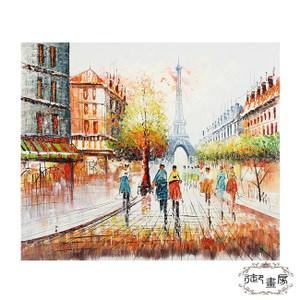 御畫房 手繪無框油畫-巴黎街頭 50x60cm