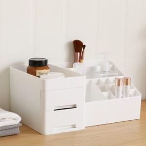 【IDEA】多格收納化妝飾品環保霧面收納盒(17格+2抽)白