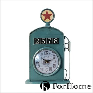 ForHome 工業風 經典老式 STAR 星星加油筒桌鐘 仿舊綠色款 造型桌鐘