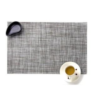 北歐風格 長方形隔熱防滑PVC亞麻系餐墊-麻灰