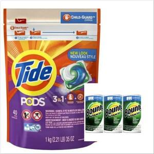 美國Tide3合1洗衣凝膠球(40顆)*1+Bount(110p*3)