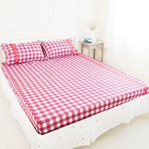【奶油獅】格紋系列-100%精梳純棉床包三件組-紅(雙人5尺)