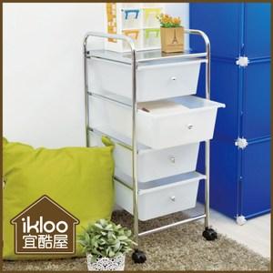 【ikloo】可移式四層白色抽屜收納車