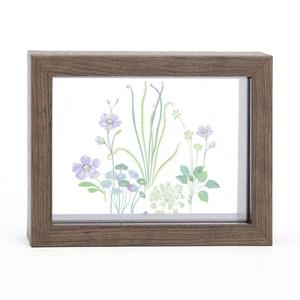 Flora 芙蘿拉透明壓花相框中 深木紋