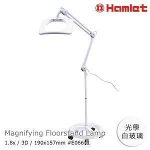 Hamlet 1.8x/3D 方型大鏡面LED調光檯燈放大鏡 輪架式1.8x/3D/190