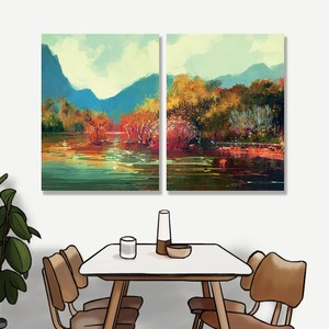 【24mama 掛畫】二聯式油畫布無框畫 30x40cm-秋天森林02油畫布無時鐘