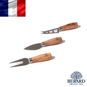 法國【Berard】畢昂原木食具 橄欖木起司刀叉3件組