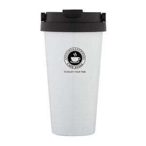 【PUSH!】304不鏽鋼手提帶蓋保溫咖啡杯(白色)E104-1