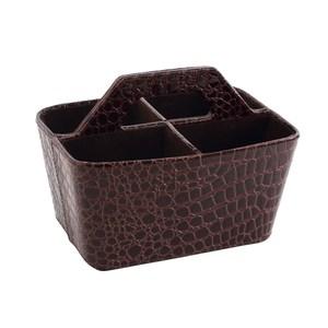 LOVEL 經典鱷魚紋皮革收納 手提4格置物盒(魅力咖)