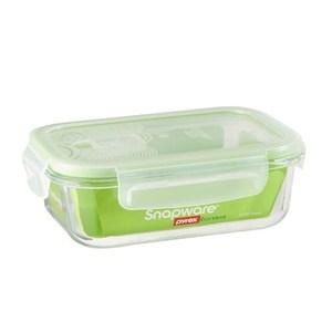 康寧密扣氣孔式耐熱玻璃保鮮盒長方650ml
