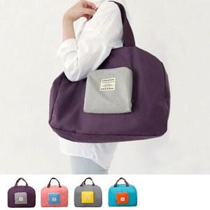 【韓版】撞色款摺疊單肩收納袋/購物袋(4色)-紫色