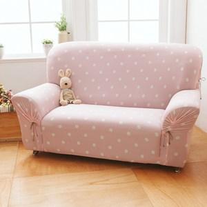 【格藍傢飾】雪花甜心涼感彈性沙發套-草莓粉3人