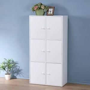 【Homelike】現代風三層六門置物櫃(三色)純白