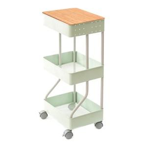 (組)鐵製烤漆三層推車-綠+桌板