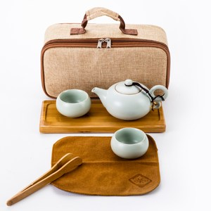 汝窯攜帶式茶組 一壺兩杯 附茶盤