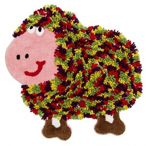 HOLA home動物派對棉踏墊70x70cm 彩羊