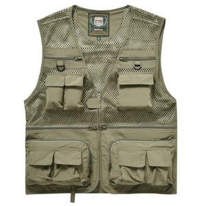 PUSH!戶外休閒用品多功能16口袋背心攝影釣魚背心F26卡其卡其XL
