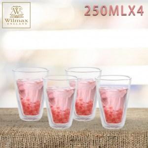 【英國WILMAX】雙層隔冰耐熱長型玻璃杯250ML四入組