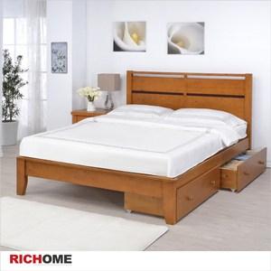 【RICHOME】艾得雙人床(附雙抽屜)柚木色