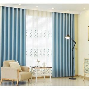 【三房兩廳】抗UV純素色系遮光窗簾(寬200x高160cm) 絲絨麻天藍
