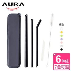 【AURA 艾樂】晶亮耐熱多彩玻璃吸管6件組(7色可選)紫色紫色