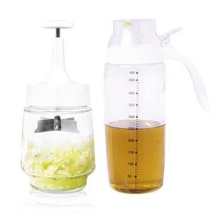 宜居家玻璃洋蔥切菜器+油罐組切菜器1+調味油罐1