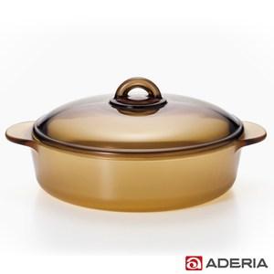 【ADERIA】日本進口陶瓷塗層耐熱玻璃調理鍋2.3L(棕)