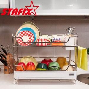 【韓國原裝進口STAFIX】不銹鋼雙層碗盤置物架51X34X41CM