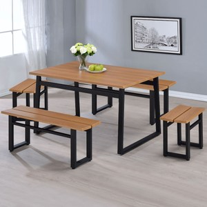 Homelike 凡妮莎工業風餐桌椅組(一桌四椅)