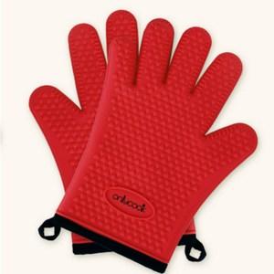 PUSH!廚房餐具用品防燙隔熱矽膠手套D165紅色紅色