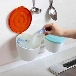 【2入特惠組】日本製造HACHIMAN流理台抗菌吸盤收納筒紅色+藍色