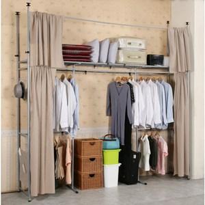 《C&B》衣世家加寬型日式頂天立地伸縮衣櫥-棕色