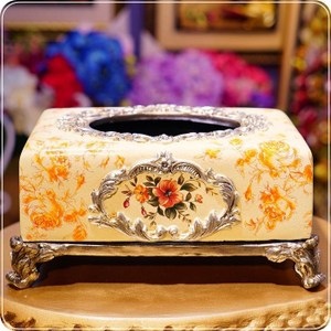 HONEY COMB 經典復古橘黃芙蓉花高腳面紙盒 EB02