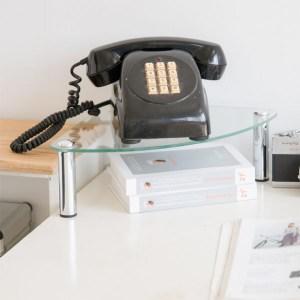 【H&R安室家】玻璃角落電話架/置物架