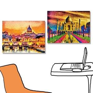 【24mama掛畫】二聯式油畫布無框畫40x30cm泰姬陵與聖彼得教堂油畫布無時鐘