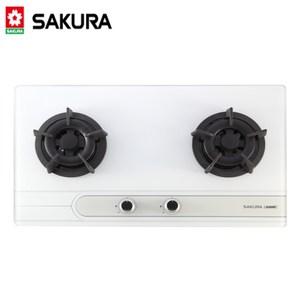 【櫻花SAKURA】(易清強化玻璃檯面式二口瓦斯爐) G-2522G-天然瓦斯白