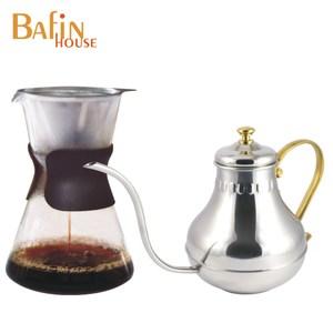 【Bafin House】syg 免濾紙玻璃咖啡壺+不鏽鋼宮廷壺1000ml