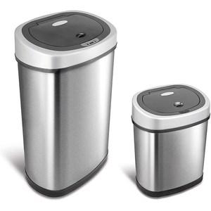 美國NINESTARS 時尚不銹鋼感應垃圾桶50L+12L(買大送小廚衛優惠組)